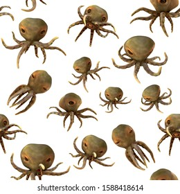An illustration of a group of octopus poses against a transparent background. It is a repeatable pattern.