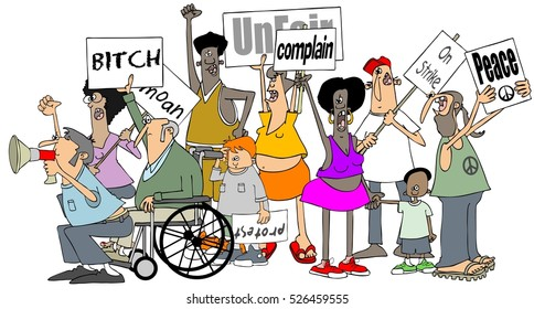 Illustration of a group of people holding protest signs.