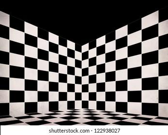 Illustration of grunge black and white checker room background.