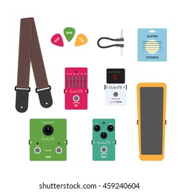 illustration of guitar equipments: stripe, strings, picks, tuner, wah, jack cable, fuzz, equalizer, looper, fx pedal on white background