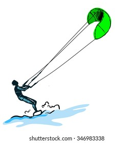 illustration the guy rides a kite