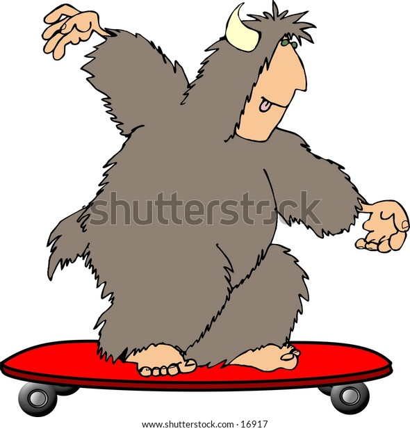 Illustration of a hairy beast with a human face, feet & hands riding a skateboard.
