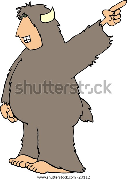 Illustration of a hairy beast with a human face, hands & feet pointing his finger.