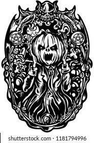 Illustration Halloween black&white emblem with Pumpkin Head Jack inside a frame with a cemetery. Imitation the Scream character