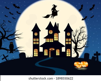 Illustration for halloween. Castle in the background of the moon, tombstones, bats, witch, creepy trees, owl and pumpkins.