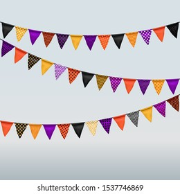 illustration of halloween colored flag garland