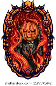 Illustration Halloween emblem with Pumpkin Head Jack inside a frame in a hell fire. Imitation the Scream character