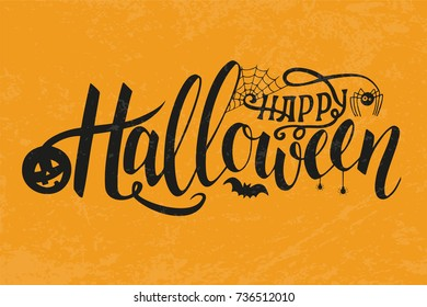 Illustration of halloween on yellow background. Happy Halloween Text Banner. Poster for Halloween on yellow background. Autumn poster with pumpkin, web, bat, spider. Greeting card.