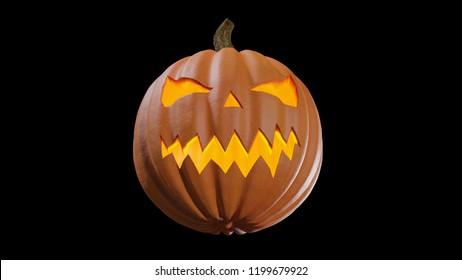 Illustration of a Halloween pumpking carved for the holydays. Jack o lantern 3D rendering.