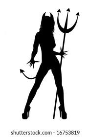 illustration of Halloween SheDevil on white background