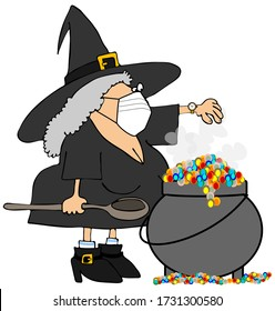 Illustration of a Halloween witch checking her watch and stirring a pot of brew while wearing a face mask.