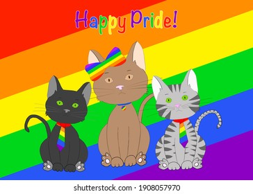 Illustration hand drawn cartoon of three diverse kitty cats wearing rainbow pride colored ties and bow in front of a tilted rainbow flag looking directly at viewer. Colorful Happy Pride text.