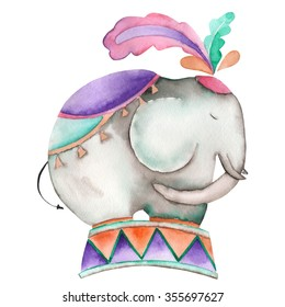An illustration of a hand drawn circus elephant painted in watercolor on a white background. Isolated circus, festival and amusement park element.