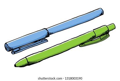 illustration of a hand drawn felt tip pen and a ballpoint pen