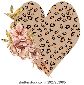 Illustration of hand drawn floral   leopard print heart isolated on white background. Perfect for print, sublimation, banner, poster, wedding, fashion, card, typography. Black lives matter