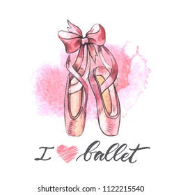 Illustration, hand drawn  pair of well-worn ballet pointes shoes. Watercolor illustration with modern lettering