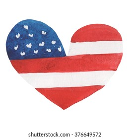 Illustration of hand drawn watercolor heart shaped USA flag