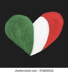 Illustration of hand drawn watercolor heart shaped Italy flag
