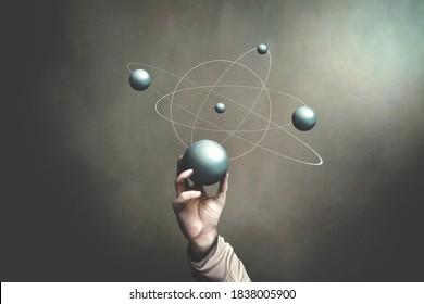 Illustration von Hand hält Sphäre, die Planetentätigkeiten repräsentiert, naturwissenschaftliches surreales Konzept
