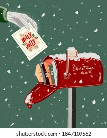 illustration, a hand in a mitten puts a greeting Christmas card in a red mailbox. Atmospheric design postcard, Holly Jolly, Christmas mail