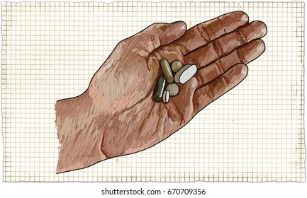 Illustration of Hand with Pills in Classic old Style