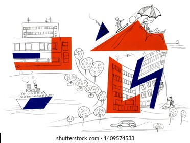Illustration. Hand-drawn application and marker. Multicolored city with a promenade and a yacht, trees, snowboarder, climbers. Suitable for printing, registration of paper products, fabrics, social