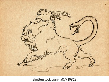 Illustration with hand-drawn chimera. Mystical creature and legendary beast. Ancient Greek myths and legends. Vintage sketch drawing. Heraldry and logo concept art.