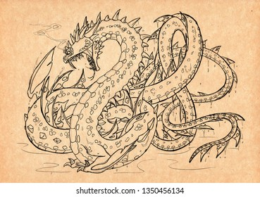 Illustration with hand-drawn Jörmungandr. Mystical creature and legendary beast. Ancient myths and legends. Norse mythology and Scandinavian folklore. Vintage sketch drawing. Concept art.