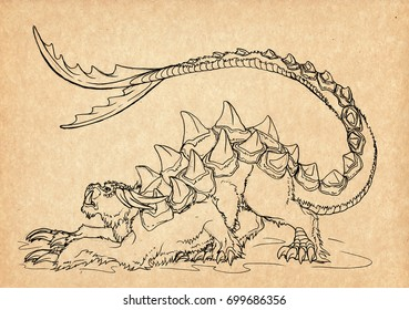Illustration with hand-drawn Tarasque. Mystical creature and legendary beast. Ancient myths and legends. French mythology and folklore. Vintage sketch drawing. Concept art.