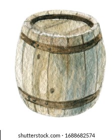 illustration hand-made wooden barrel with metal hoops