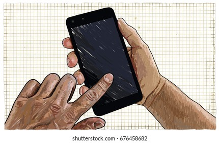 Illustration of Hands with Blank Smart-phone ready to use