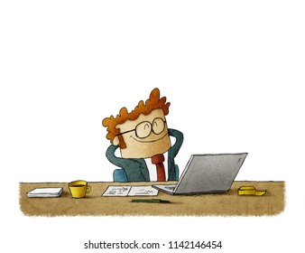 illustration of Handsome businessman is smiling while relaxing on chair in office. isolated