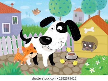 Illustration of Happy animals. Little сute cats and dog are playing in the village.