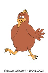 Illustration of a happy chicken walking around