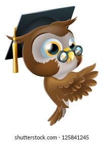 Illustration of a happy cute wise old owl leaning or peeking round a sign and pointing at it