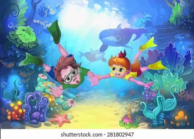 Illustration: Happy father's day in the sea - Diver version - Scene Design - Fantastic style