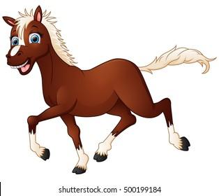 illustration of Happy horse cartoon