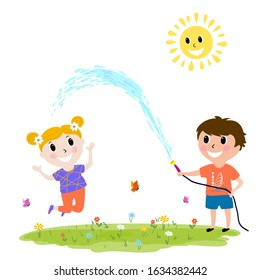 Illustration happy kids playing outdoors, boy hosing, cartoon design