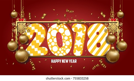 illustration of happy new year 2018 wallpaper gold balls and colorful