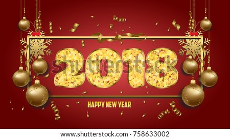 illustration of happy new year 2018 wallpaper gold balls
