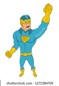 Illustration of a happy super hero dressed in blue and yellow costume, isolated on a white background