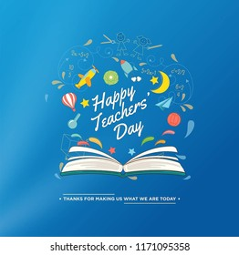 Illustration with happy teachers day.Teachers' Day is a special day for the appreciation of teachers, and may include celebrations to honor them for their special contributions in a particular field.