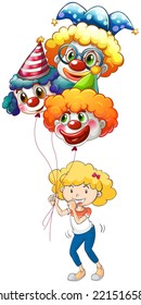 Illustration of a happy young lady with three balloons on a white background