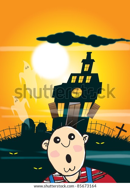 An illustration of a haunted house silhouetted against an orange night time sky background with full moon, ghosts and a frightened character to the front of image. Halloween themed.