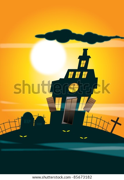 An illustration of a haunted house silhouetted against an orange night time sky background and full moon. Halloween themed.