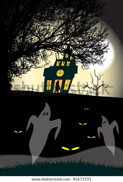 An illustration of a haunted house and tree silhouetted against a moonlight sky background with ghostly figures to the foreground. Halloween themed.