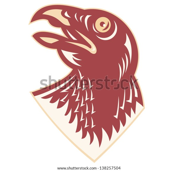 Illustration of a hawk falcon head looking up on isolated white background done in retro style.