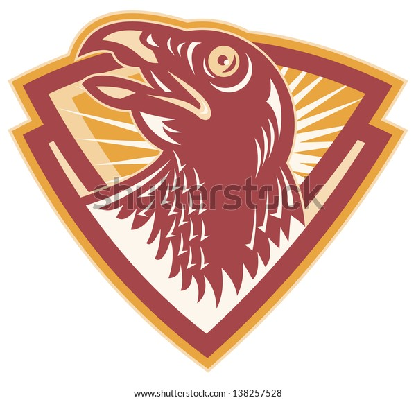 Illustration of a hawk falcon head looking up set inside shield on isolated white background done in retro style.