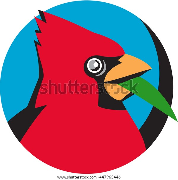 Illustration of a head of a Cardinal, in the family Cardinalidae, are passerine birds found in North South America, also known as cardinal-grosbeak, cardinal-bunting, blade grass circle retro style.
