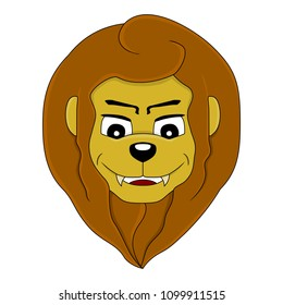Illustration of a head of a cute smiling lion, isolated on a white background